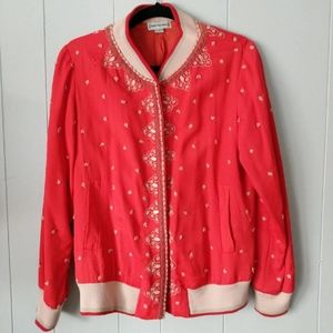 Embroidered Red Bomber